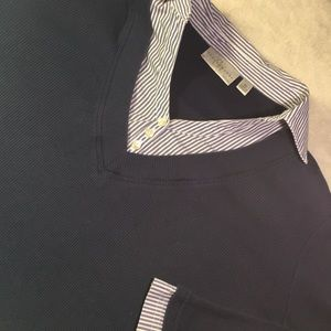 Faux layered work shirt.
